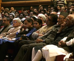 "Former Vice President Hamid Ansar, former Prime Minister Manmohan Singh, Congress leaders Kapil Sibal, Shashi Tharoor and Anand Sharma during the release of a book titled ""Speaking ..."