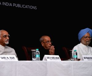 "Former Vice President Hamid Ansari, former President Pranab Mukherjee and former Prime Minister Manmohan Singh during the launch of  A. Gopanna's book ""Jawaharlal Nehru: An ..."