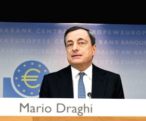 President of the European Central Bank (ECB) Mario Draghi speaks during a press conference