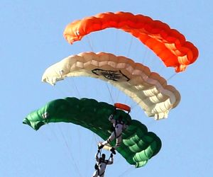 Free fall of Sky divers of Akash Ganga team of Indian Air Force perform at Combined Graduation parade held at Air Force Academy, Dundigal, Hyderabad on 15 Jun 2019.