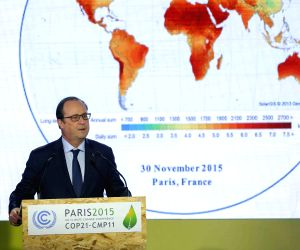 FRANCE PARIS COP 21 FRANCE INDIA INTERNATIONAL SOLAR ALLIANCE LAUNCH