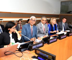 From left, Rekha Bhandari, D R Mehta, the founder of Jaipur Foot   Permanent Representative of India  Syed Akbaruddin, Permanent Representative of Colombia Maria Emma Mejia Velez, and author John ...