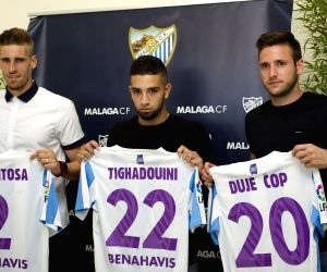 MALAGA CF PRESENTS ITS NEW PLAYERS ADNANE TIGHADOUINI, RAUL ALBENTOSA AND DUJE COP