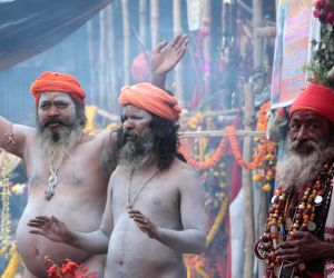 Ascetics arrive at Babughat ahead of Gangasagar