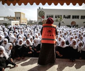 MIDEAST GAZA STRIP NUSEIRAT EVACUATION TRAINING