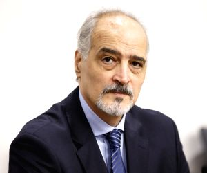 GENEVA, July 10, 2017 (Xinhua) -- Syrian Ambassador to the United Nations and head of the government delegation Bashar Jaafari attends a meeting with UN Special Envoy for Syria Staffan de Mistura (not pictured) during the intra-Syrian negotiations at
