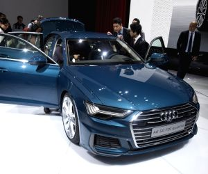 GENEVA, March 7, 2018 - Photo taken on March 7, 2018 shows the new Audi A6 at the 88th Geneva International Motor Show in Geneva, Switzerland. The Motor Show, which attracts more than 180 exhibitors ...