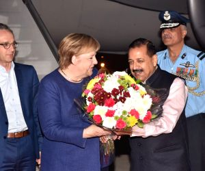 German Chancellor Angela Merkel arrives in Delhi