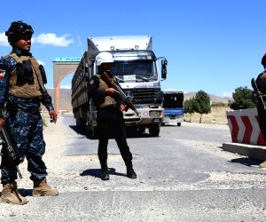 GHAZNI, May 23, 2018 - Afghan security members stand guard at a checkpoint after Taliban attacks on Dih Yak and Jaghato districts in Ghazni city, capital of Ghazni province, Afghanistan, May 22, ...