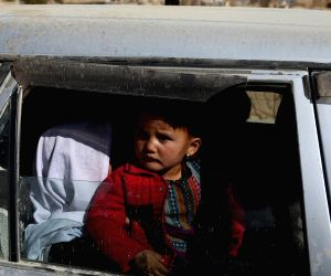 GHAZNI, Nov. 12, 2018 - Families arrive in Ghazni city from Jaghori district of Ghazni province, Afghanistan, on Nov. 12, 2018. Taliban militants in a surprise move stormed security checkpoints in ...