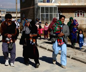 GHAZNI, Nov. 14, 2018 - Displaced people from Jaghori district arrive in Ghazni city, Afghanistan, on Nov. 14, 2018. Taliban militants in a surprise move stormed security checkpoints in the peaceful ...