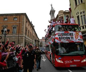 Sporting Gijon celebrates promotion to first division