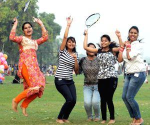 Girls enjoy pleasant weather