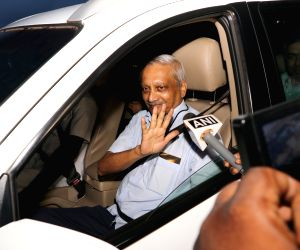 Goa Chief Minister Manohar Parrikar arrives at his residence after three months of treatment in a US hospital for advanced pancreatic cancer, at Taleigao Plateau in Goa's Tiswadi on June 14, ...