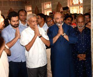 Goa Chief Minister Manohar Parrikar visits Mahalaxmi temple in Panaji, on June 15, 2018.