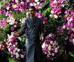 Google CEO Sundar Pichai at the wedding festivities of Akash Ambani and Shloka Mehta in Mumbai on March 9, 2019.