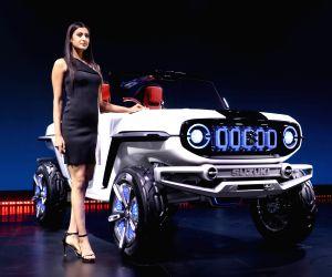 Greater Noida: A model showcases Maruti Suzuki e-Survivor concept SUV at the Auto Expo 2018 in Greater Noida on Feb 11, 2018.