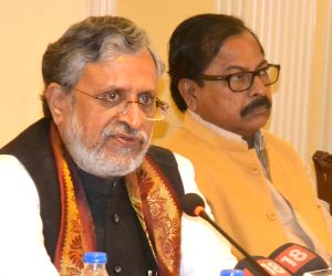 Sushil Kumar Modi during a meeting on GST