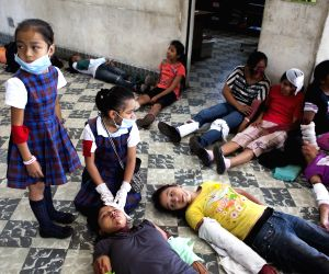 Guatemala City: Students of Jose Joaquin Palma School take part in an earthquake drill