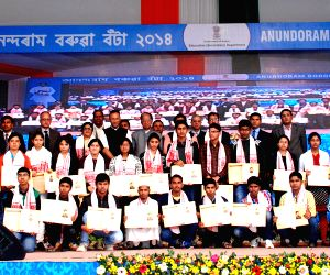 Assam CM at the 'Anundoram Barooah Award - 2014'
