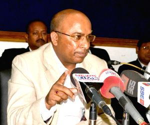 Debojit Saikia addresses a press conference