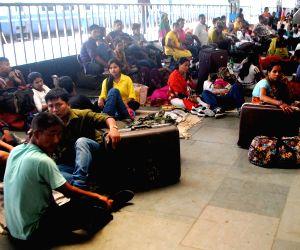 Passengers stranded at the Guwahati Railway station