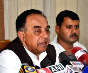Subramaniam Swami during a press conference
