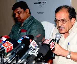 Birender Singh review meeting of Saansad Adarsh Gram Yojana and MNREGA
