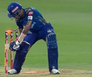 Hardik gets out via rare hit-wkt mode, then takes 3 catches