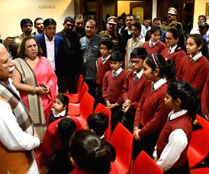 Haryana Chief Minister Manohar Lal Khattar visits GD Goenka World School, Sohna and interacts with students, teachers and staff who were present in the bus on January 24 when a group of ...