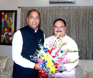 Himachal Pradesh Chief Minister Jairam Thakur meets Newly elected BJP working President J.P. Nadda in New Delhi on June 18, 2019.