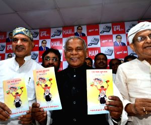 Patna: Jitan Ram Manjhi during a press conference