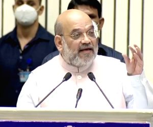 Free Photo: Home Minister of India Amit Shah addressing the 18th BSF Investiture Ceremony at Vigyan Bhavan, New Delhi