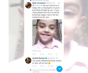 Hrithik Roshan wishes birthday to 4-year-old fan