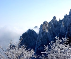 The snow scenery on the Huangshan Mountain