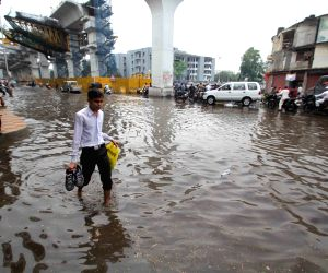 A view of waterlogged streets of Hyderabad