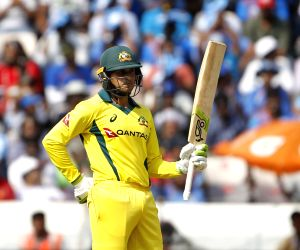 Hyderabad: Australia's Marcus Stoinis celebrates his half century during the first ODI match between India and Australia at Rajiv Gandhi International Stadium in Hyderabad on March 2, 2019. (Photo: Surjeet Yadav/IANS)