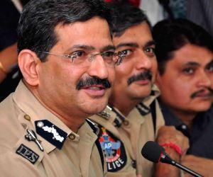 Hyderabad city police Commissioner Anurag Sharma addressing Media