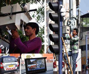 CCTV cameras being installed on the eve of Hanuman Jayanti