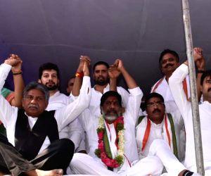 Hyderabad: Congress workers led by party leader Mallu Bhatti Vikramarkaduring anindefinite fast against merger of 12 Congress MLAs with the ruling Telangana Rashtra Samithi (TRS) atIndira Park, in Hyderabad, on June 9, 2019. (Photo: IANS)