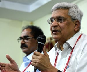 : Hyderabad: CPI(M) leader Prakash Karat addresses a press conference in Hyderabad on April 20, 2018. (Photo: IANS).