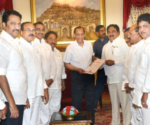 Suspended TDP legislators call on Telangana Governor