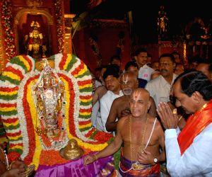 KCR visits Lord Venkateswara Temple