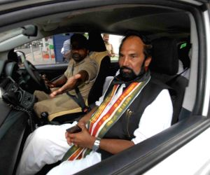 Hyderabad: Telangana Congress President N. Uttam Kumar Reddy being taken away after he along with other party leaders, was arrested for protesting at the Telangana Assembly against the 12 party MLAs who met the Speaker urging him to merge the Congres