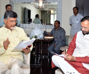 Prakash Javadekar during a meeting with Andhra CM