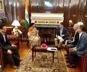Hyundai Motor India MD and CEO S.S. Kim meets Union Finance and Corporate Affairs Minister Nirmala Sitharaman, in New Delhi on Sep 2, 2019.
