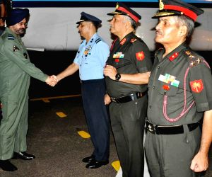 IAF chief Air Chief Marshal B S Dhanoa visits Air Force Station at Hakimpet, Telangana, on June 29, 2018.
