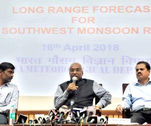 "India Meteorological Department (IMD), Director General of Meteorology Dr. K.J. Ramesh briefs the media on 1st stage ""Long Range Forecast for Southwest Monsoon Rainfall - 2018"" ..."