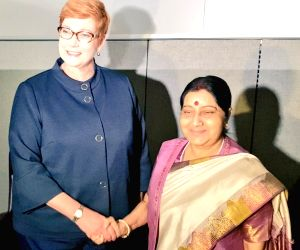 Swaraj discusses strategic cooperation, trade with counterparts