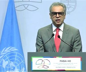 India's Permanent Representative to the United Nations, Syed Akbaruddin, speaks on Thursday, March 21, 2019, a the High-Level South-South Cooperation Conference in Buenos Aires.
